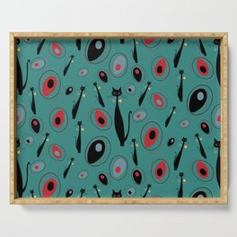 Mid-Century Modern Art Atomic Cats 1.3 Teal Pattern Serving Tray