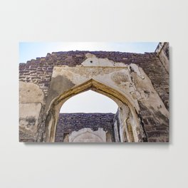 Red Brick Wall with a Mughal Arch Built into It at Golconda Fort in Hyderabad, India Metal Print