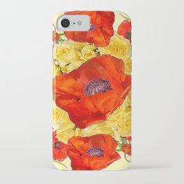 ORANGE POPPY FLOWERS GARDEN YELLOW ROSES ART iPhone Case