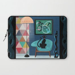 Creature Comforts Mid-Century Interior With Black Cat Laptop Sleeve