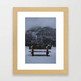 Lone Bench At Lago del Predil Italy Framed Art Print