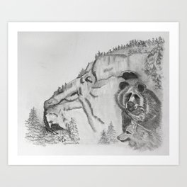 The Fairytale about the Wolf, Bear, and the Lion Art Print