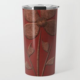Cute Copper Look Flower Red Canvas Travel Mug
