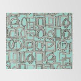 picture frames aplenty bone mint Throw Blanket