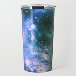 Black Trees Violet Green Space Travel Mug