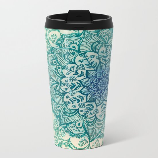Emerald Doodle Metal Travel Mug