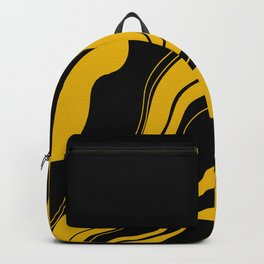 Uplifting abstract yellow black wavy lines Backpack