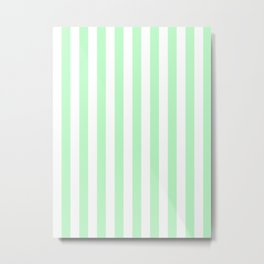 Vertical Horizontal Stripes - White and Mint Green Metal Print