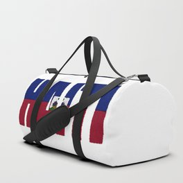 Haiti Font with Haitian Flag Duffle Bag