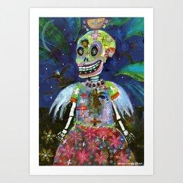 ANGEL GOTHIC GIRL SKELETON Art Print