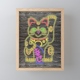 Maneki-Neko Neon – Good Luck - Black Framed Mini Art Print