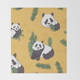 Happy Hungry Pandas Throw Blanket