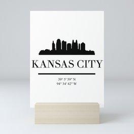 KANSAS CITY BLACK SILHOUETTE SKYLINE ART Mini Art Print