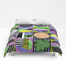 Crazy Grid - Pop Art, Geometric, Textured, Patterned Artwork Comforters