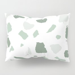abstract terrazzo stone pattern sage green white Pillow Sham
