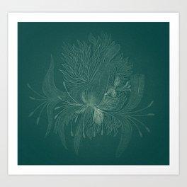 unusual flowers on an emerald background Art Print