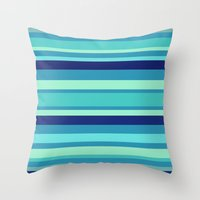 preppy Throw Pillows featuring Preppy Stripes - Aqua Blues by Sweet Karalina