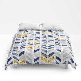 Herringbone chevron pattern.Indigo faux gold acrylic canvas Comforters