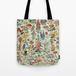 Flowers Vintage Scientific Illustration French Language Encyclopedia Lithographs Educational Tote Bag