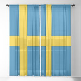 Flag of Sweden - Authentic (High Quality Image) Sheer Curtain