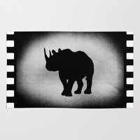 rhino Area & Throw Rugs featuring Rhino by LoRo  Art & Pictures