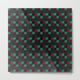 Rustic Red Green and Blue Patchwork Metal Print