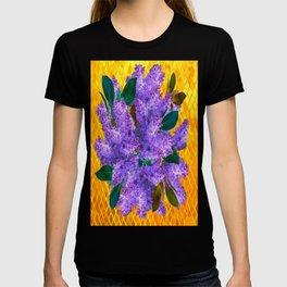 Spring Lilac Floral Bouquet Gold Patterns T-shirt