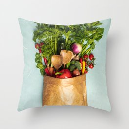 Grocery shopping concept Throw Pillow