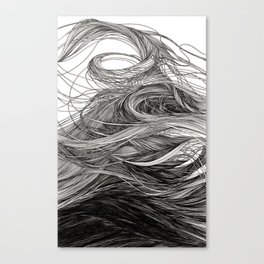 I lay beside a lake full of cool thick black water Canvas Print