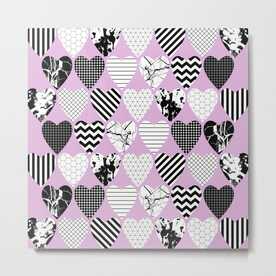 Hearts And Love - Black and white, geometric Pattern Metal Print