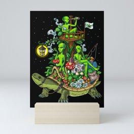 Psychedelic Aliens Space Trip Mini Art Print