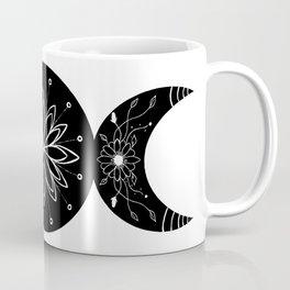 Triple Moon Goddess Moon Flowers Coffee Mug