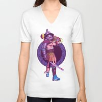 gladiator V-neck T-shirts featuring Street Warriors - Gladiator by Mike Wrobel