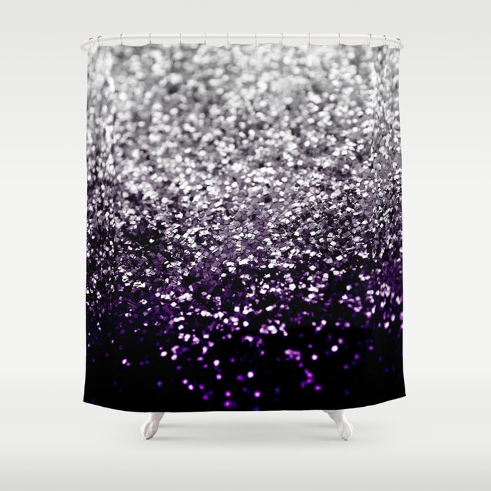 Dark Night Purple Black Silver Glitter 1 Shiny Decor Art Society6 Shower Curtain By Anitabellajantz