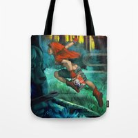 red hood Tote Bags featuring Red Hood by Artgerm™
