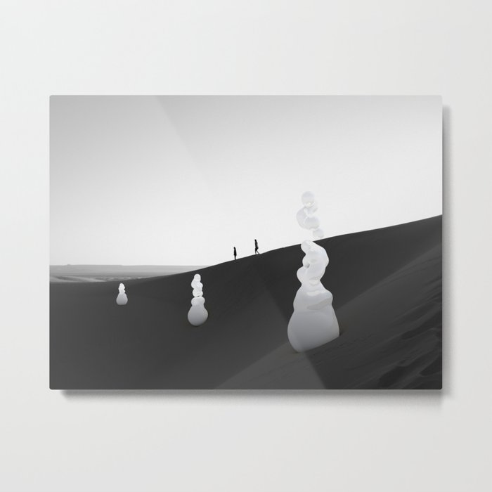 Weird Shapes on Black and White Metal Print