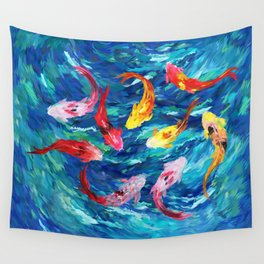Koi fish rainbow abstract paintings Wall Tapestry