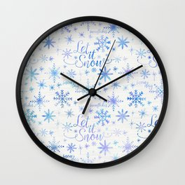 Let It Snow Winter Pattern Wall Clock