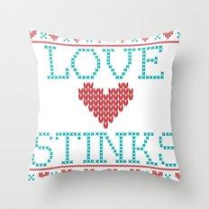 Love Stinks Cross Stitch Throw Pillow