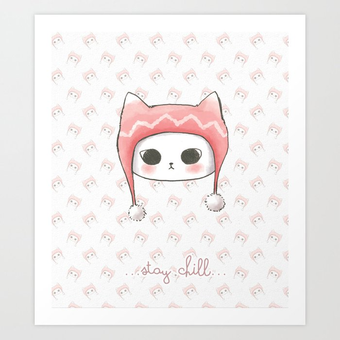 Stay Chill Cat(background Wallpaper) Art Print