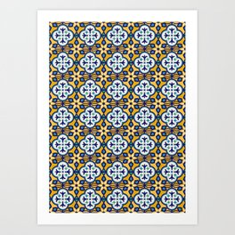 Yellow and Blue Moroccan Tile Art Print