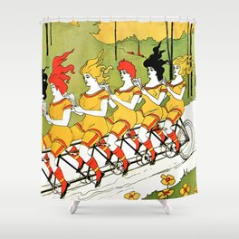 Vintage art Nouveau funny girls on a tandem bicycle Shower Curtain