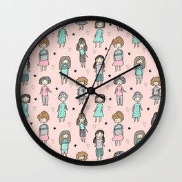 Girls illustration little women cute pattern kids rooms gifts Wall Clock