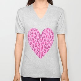 Bright Pink Leopard Print Unisex V-Neck
