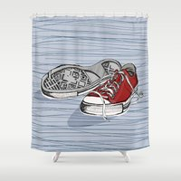 converse Shower Curtains featuring Converse Shoes by Slish