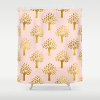 gold foil Shower Curtains featuring Pink Gold Foil 02 by Aloke Design