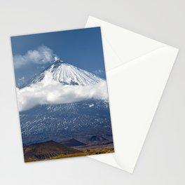 Klyuchevskoy Volcano or Klyuchevskaya Sopka on Kamchatka - highest active volcano of Eurasia Stationery Cards