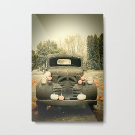 Pumpkin Truck Metal Print