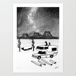 Camping With Wolves Art Print