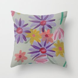Rain Flowers Throw Pillow